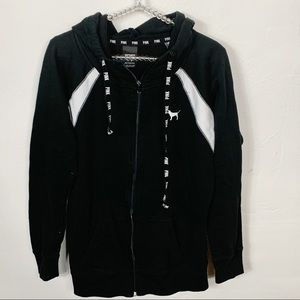 VS Pink l Black and White Hooded Zip Up